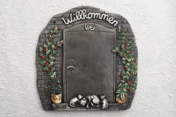 """Door plate """"door with willkommen"""""""
