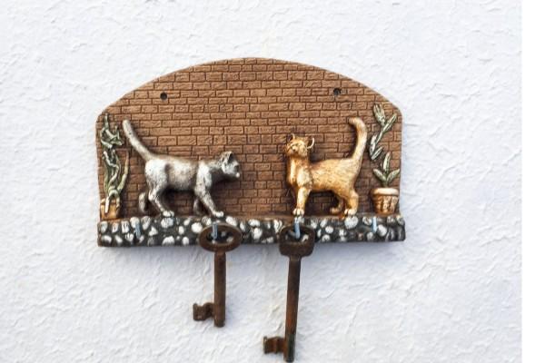 Schlüsselhaken mit Katzen