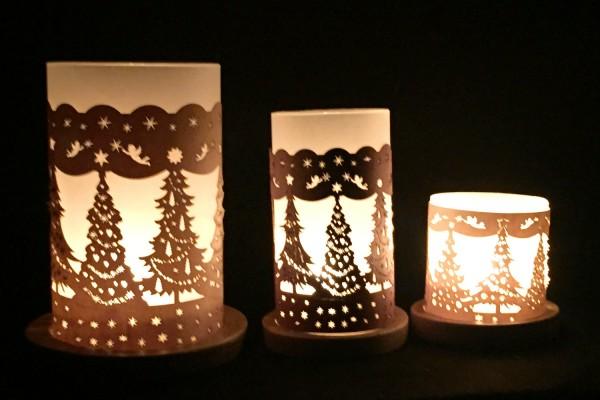"""Windlicht """"Weihnachtsbäume"""""""