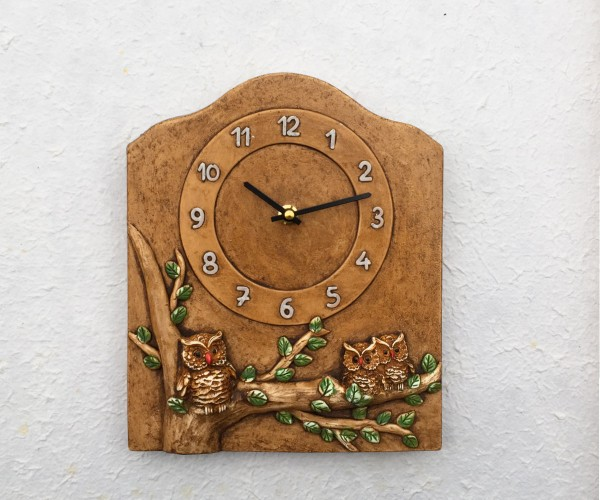 Wall clock with owls