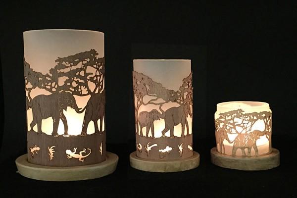 Windlicht Elefantenfamilie