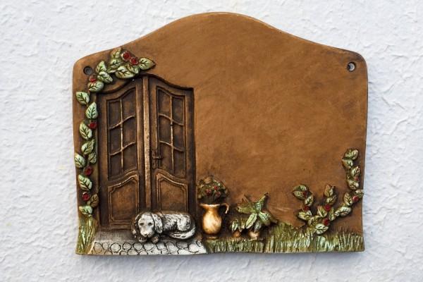 """door plate """"door with dog"""""""