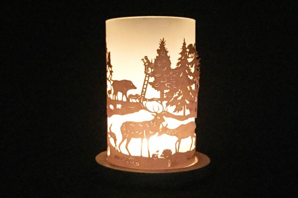 "Lantern ""Forrest with Deers and Hunter"""