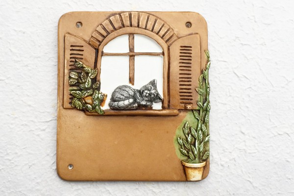 "Türschild ""Katze am Fenster"""