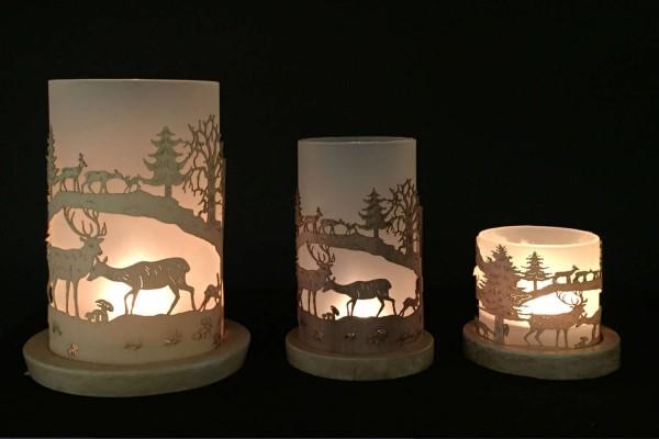"""Lantern """"Wald mit Hirsch und Rehkitz"""""""
